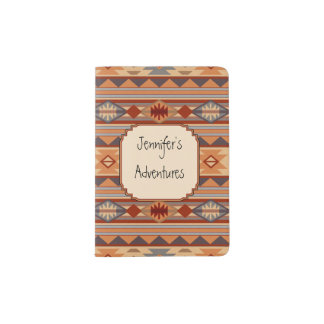 Southwest Design Tan Personalized Passport Holder
