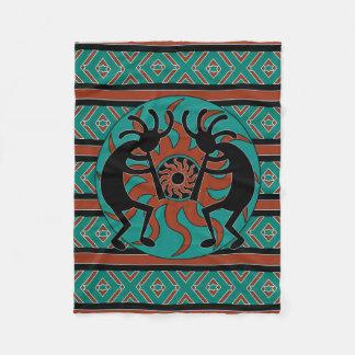 Southwest Design Turquoise Tribal Sun Kokopelli Fleece Blanket