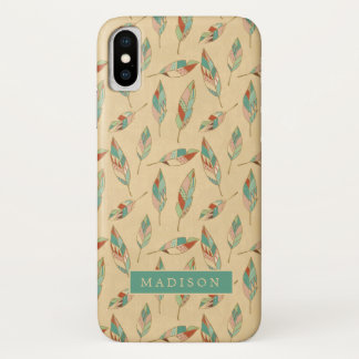 Southwest Geo Step | Coral Feather Pattern iPhone X Case