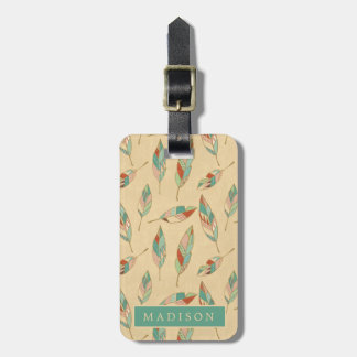 Southwest Geo Step | Coral Feather Pattern Luggage Tag