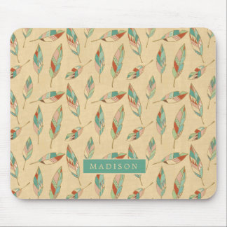 Southwest Geo Step | Coral Feather Pattern Mouse Mat