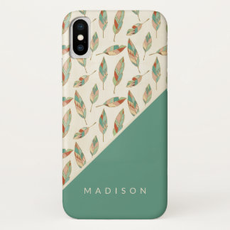 Southwest Geo Step | Geometric Feather Pattern iPhone X Case