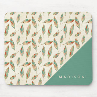 Southwest Geo Step | Geometric Feather Pattern Mouse Mat