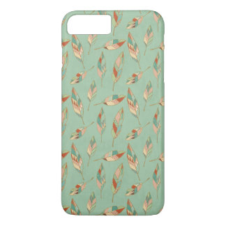 Southwest Geo Step | Green Feather Pattern iPhone 8 Plus/7 Plus Case