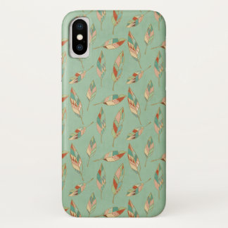 Southwest Geo Step | Green Feather Pattern iPhone X Case