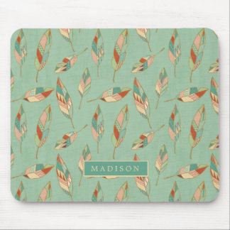Southwest Geo Step | Green Feather Pattern Mouse Mat