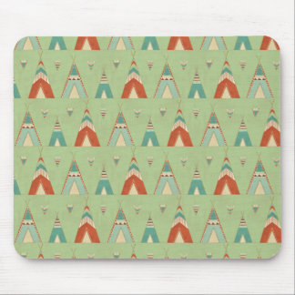 Southwest Geo Step | Green Teepee Pattern Mouse Mat