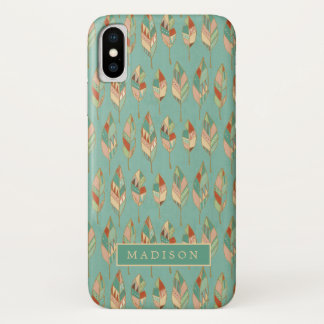 Southwest Geo Step | Watercolor Feather Pattern iPhone X Case