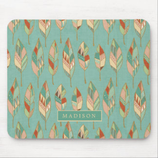 Southwest Geo Step | Watercolor Feather Pattern Mouse Mat