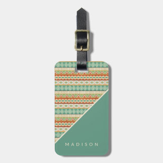 Southwest Geo Step | Watercolor Tribal Pattern Luggage Tag