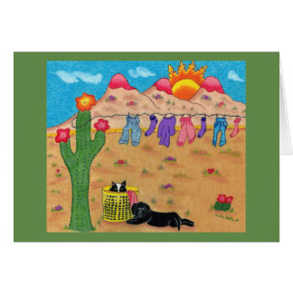Southwest greeting card with dog and cat