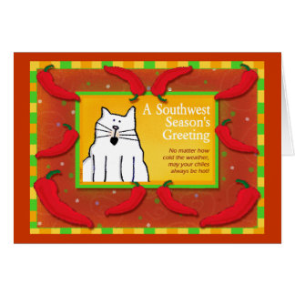 Southwest Holiday Greeting, Cat Greeting Card