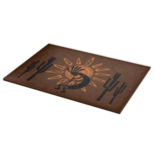 Southwest Kokopelli Desert Sun Glass Cutting Board