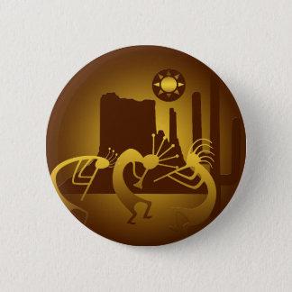Southwest Kokopelli in Bronze and Gold 6 Cm Round Badge
