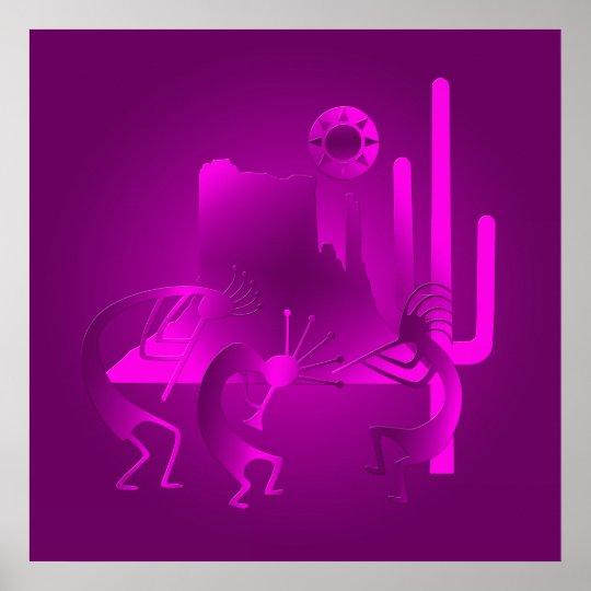 Southwest Kokopelli in Purple Poster