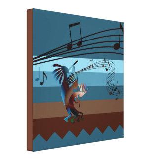 Southwest Kokopelli Music Wrapped Canvas Print