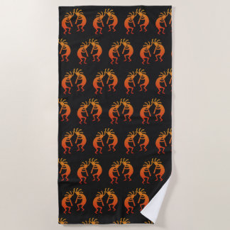 Southwest Kokopelli Pattern Orange And Black Beach Towel