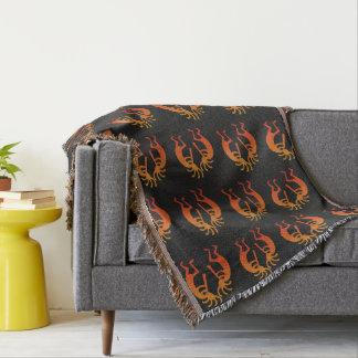 Southwest Kokopelli Pattern Orange And Black Throw Blanket