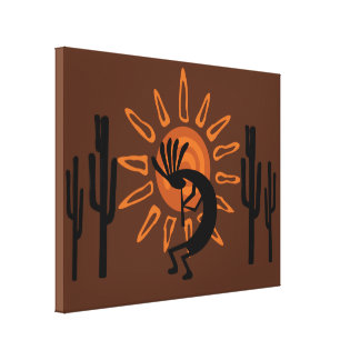 Southwest Kokopelli Sun Rustic Wrapped Canvas