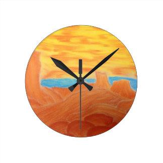 Southwest Landscape Chalk Drawing Round Clock