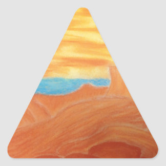 Southwest Landscape Chalk Drawing Triangle Sticker