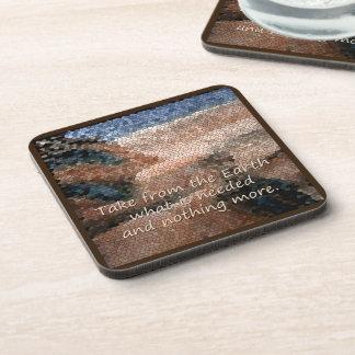 Southwest Native American Earth Quote Plastic Coaster
