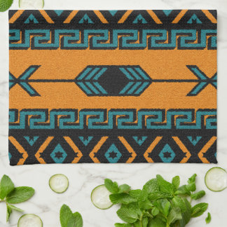 Southwest Orange And Turquoise Aztec Pattern Kitchen Towels