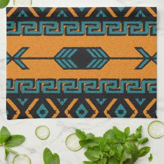 Southwest Orange And Turquoise Aztec Pattern Tea Towel