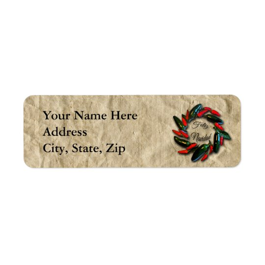 Southwest Pepper Wreath Feliz Navidad Return Address Label