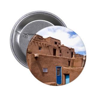 Southwest Taos Adobe Pueblo House New Mexico 6 Cm Round Badge