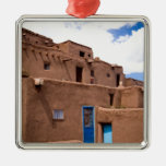 Southwest Taos Adobe Pueblo House New Mexico Silver-Colored Square Decoration