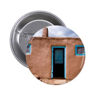 Southwest Taos Adobe Pueblo House Turquoise Door 6 Cm Round Badge
