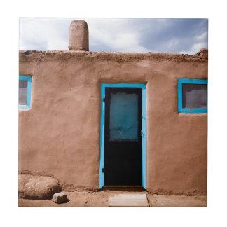 Southwest Taos Adobe Pueblo House Turquoise Door Tile