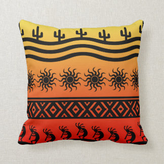 Southwest Tribal Desert Sun Cactus Kokopelli Throw Pillow
