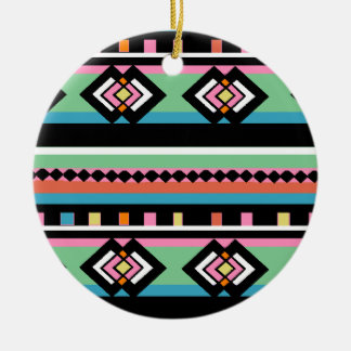 Southwest Tribal Green Geometric Christmas Ornament