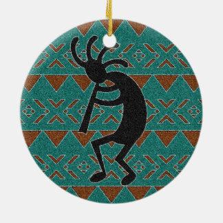 Southwest Turquoise Kokopelli Tribal Design Christmas Ornament