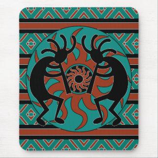 Southwest Turquoise Tribal Sun Kokopelli Mouse Mat