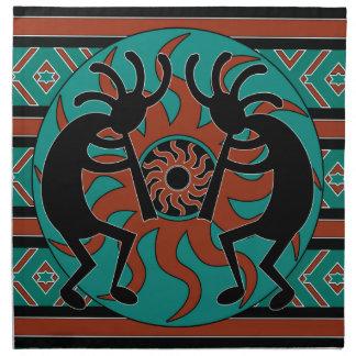 Southwest Turquoise Tribal Sun Kokopelli Napkin