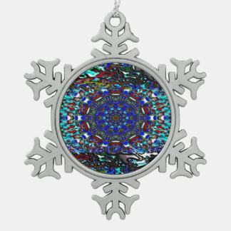 Southwestern Absrtract Design Snowflake Pewter Christmas Ornament