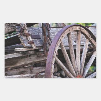 Southwestern Antique Wagon Wheel Cactus Rectangular Sticker