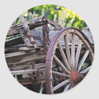 Southwestern Antique Wagon Wheel Cactus Round Sticker