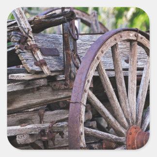 Southwestern Antique Wagon Wheel Cactus Square Sticker