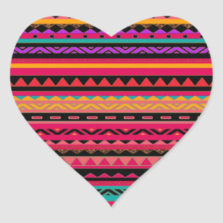 Southwestern Aztec Colorful Pattern Heart Sticker