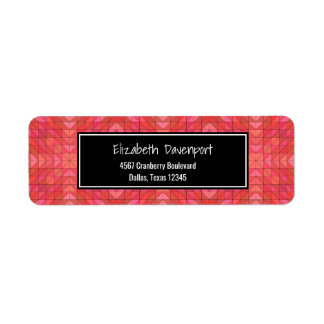Southwestern Aztec Style Geometric In Red And Pink Return Address Label