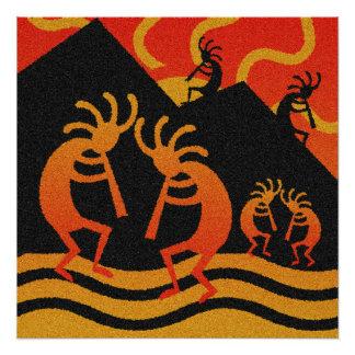 Southwestern Desert Sunset Kokopelli Poster