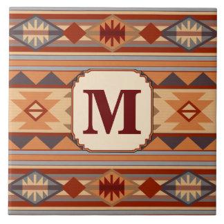 Southwestern Design Tan Monogram Tile