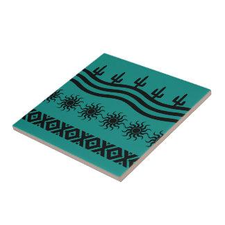 Southwestern Design Teal And Black Tile Trivet