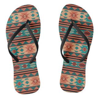 Southwestern Design Turquoise Terracotta Flip Flops