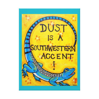 Southwestern Lizard Dust Dicho Turquoise Yellow Canvas Print
