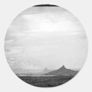 Southwestern Mountain Photograph Black White Round Stickers